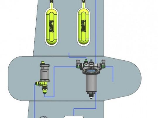 Přístroje drakového hydraulického a palivového systému letounu